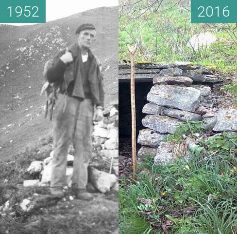 Before-and-after picture of Stara Bricova bajta na Vrhu between 1952 and 2016