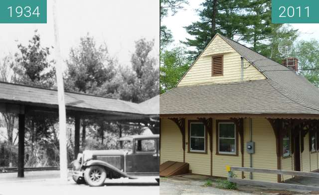 Before-and-after picture of Lakeville, Connecticut Railroad Depot between 1934-May-10 and 2011-May-19