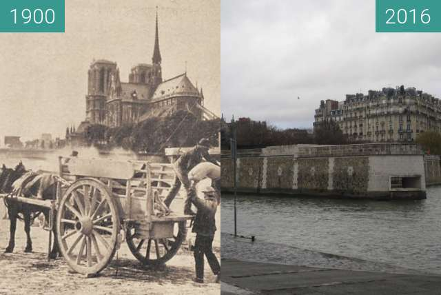 Before-and-after picture of Quai de la Tournelle/Notre Dame between 1900 and 2016-Jan-10