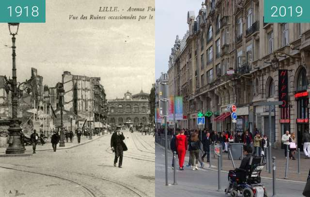 Before-and-after picture of Rue Faidherbe (WW1) between 1918 and 2019-Apr-06