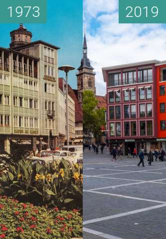 Before-and-after picture of Stuttgart - Marktplatz between 1973-Oct-07 and 2019-Oct-07