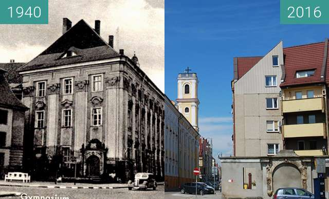 Before-and-after picture of Jesuitenkirche between 1940 and 2016