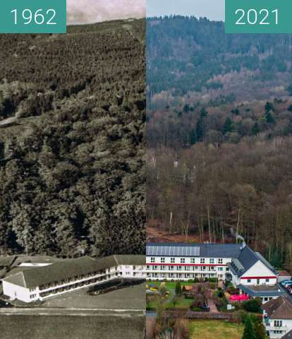 "Before-and-after picture of Der ""Sonnenhof"" Bad Iburg between 1962 and 2021-Feb-05"