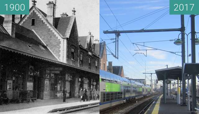 Before-and-after picture of Gare de Beauvais between 1900 and 2017-Dec-17