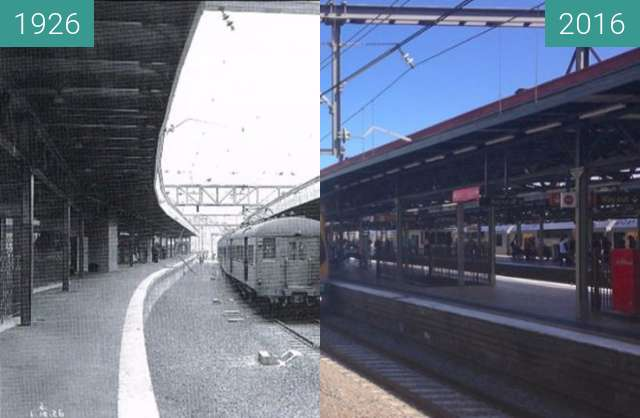 Before-and-after picture of Central Station Platform 21 between 1926 and 2016
