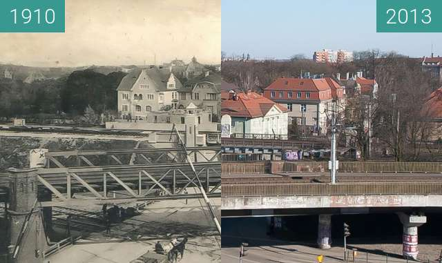 Before-and-after picture of Ulice Libelta/Roosevelta/Poznańska/Pułaskiego between 1910 and 2013