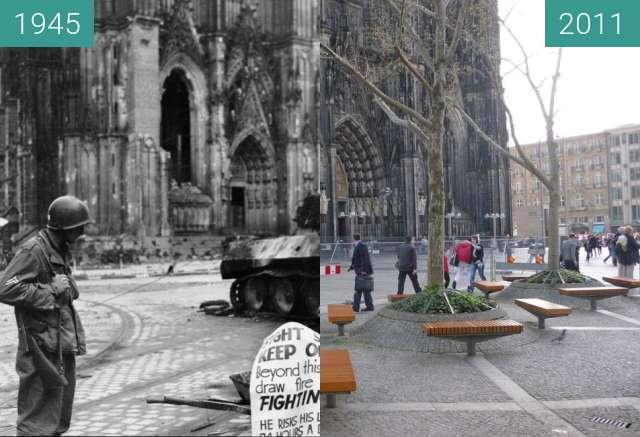 Vorher-Nachher-Bild von Köln Domplatte 1945/2011 zwischen 04.04.1945 und 04.2011