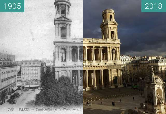 Before-and-after picture of Place et Eglise Saint Sulpice between 1905 and 2018-Jan-25