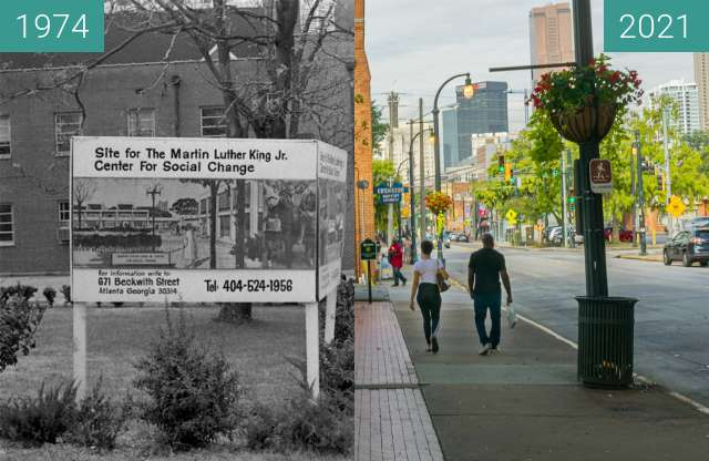 Before-and-after picture of Martin Luther King Jr. Center for Social Change between 11/1974 and 2021-Sep-18