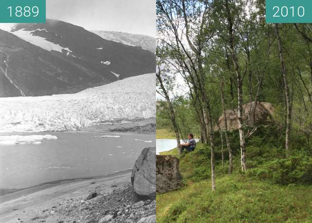 Before-and-after picture of Engabreen Glacier between 1889 and 2010