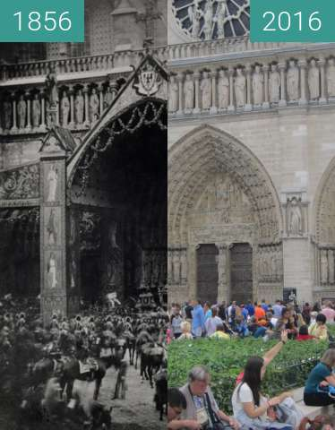 Before-and-after picture of Notre-Dame between 1856-Jun-14 and 2016-Jun-25