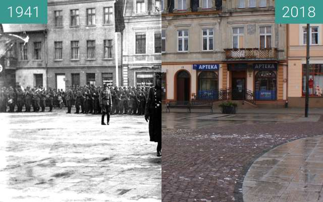 Before-and-after picture of Wermacht in Żnin between 1941 and 02/2018