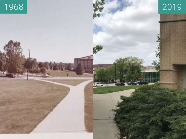 Before-and-after picture of Allen Fieldhouse-1968 to Allen Fieldhouse 2019 between 1968 and 2019-May-02