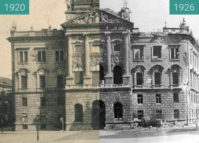 Before-and-after picture of Ex Ministry of Defense in Budapest between 1920 and 1946