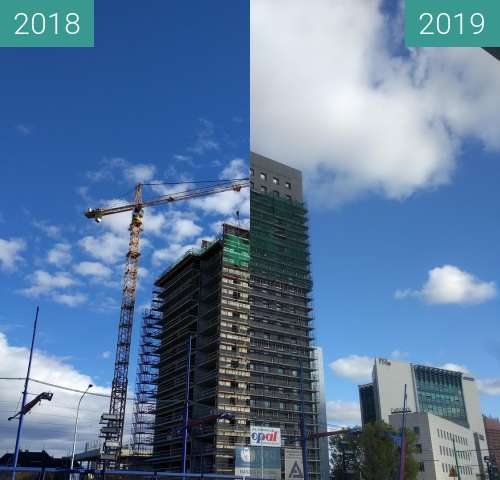 Before-and-after picture of Poznań Towarowa 39 between 2018-Sep-25 and 2019-Oct-30