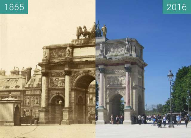 Before-and-after picture of Palais des Tuileries between 1865 and 2016-May-06