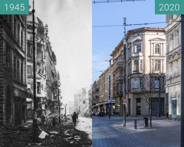 Before-and-after picture of Ulica św. Marcin between 1945 and 2020-Apr-05