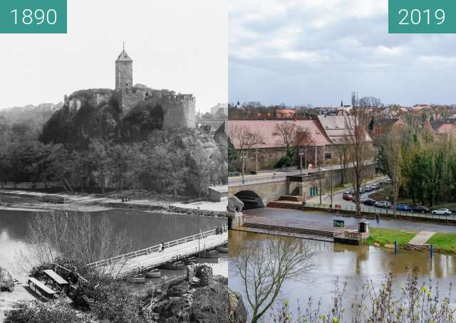 Before-and-after picture of Burg Giebichenstein between 1890 and 2019-Mar-19