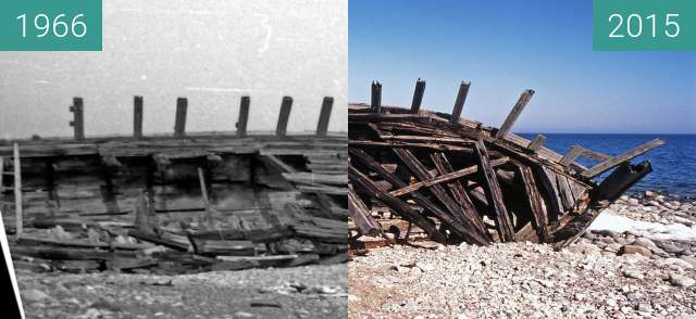 Before-and-after picture of Dreimast-Schoner Schiffswrack between 1966 and 2015