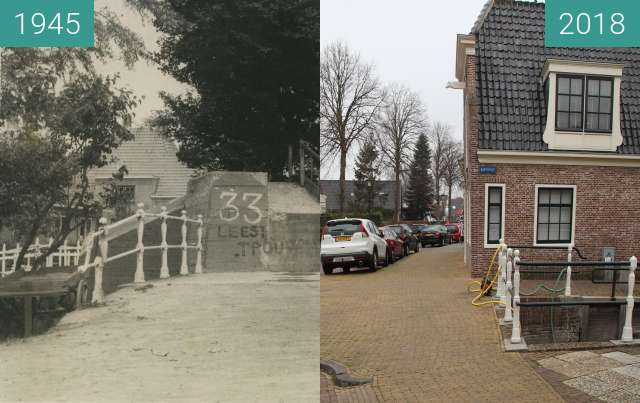 Before-and-after picture of Road block Schagen between 1945 and 2018-Apr-12