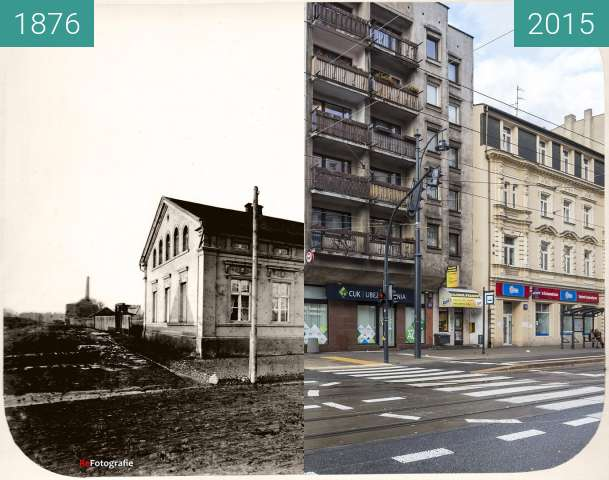 Before-and-after picture of Rudzinski's House between 1876 and 2015