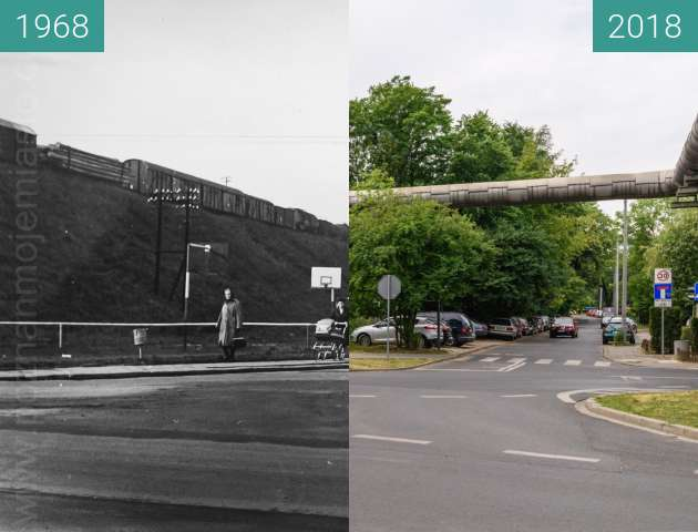 Before-and-after picture of Ulica Grudzieniec between 1968 and 2018