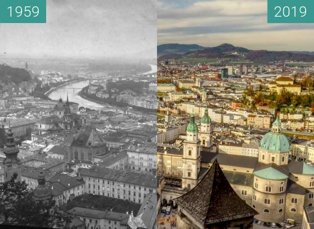 Before-and-after picture of Blick über Salzburg between 1959 and 2019-Nov-24