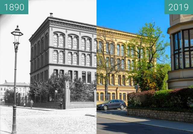 Before-and-after picture of Universitäts- und Landesbibliothek Sachsen-Anhalt between 1890 and 2019-Apr-19