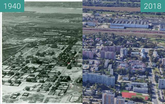 Before-and-after picture of Warsaw Bródno 1940/2018 (Google Earth) between 1940 and 2018