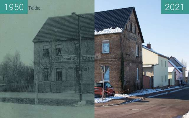 Before-and-after picture of Restaurant zur Eisenbahn Teicha between 1950 and 2021-Jan-31