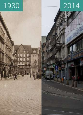 Before-and-after picture of Ulica Gwarna between 1930 and 2014