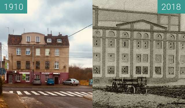 Before-and-after picture of Młyn braci Brummerów between 1910 and 2018
