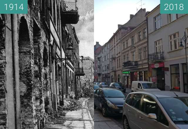 Before-and-after picture of Kalisz in 1914 and in 2018 between 1914 and 2018-Aug-08