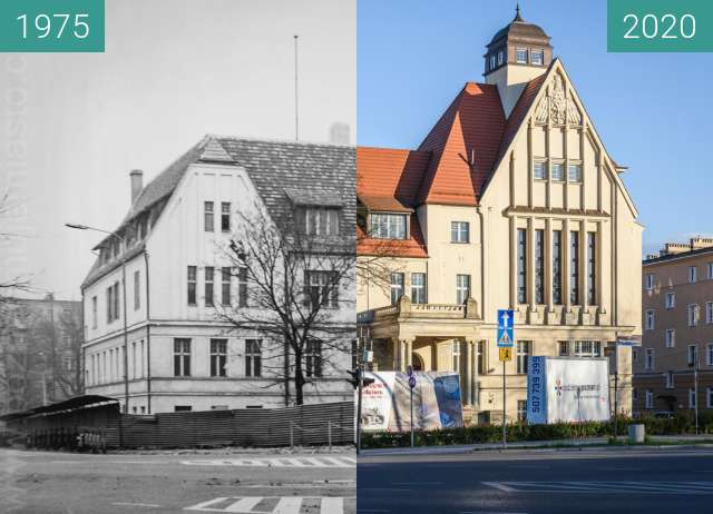 Before-and-after picture of Aleja Niepodległości between 1975 and 2020-Apr-04