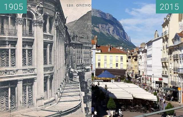 Before-and-after picture of Grenoble | Place Grenette : Galeries Modernes.  between 1905 and 2015