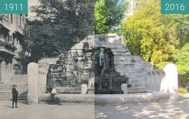 Before-and-after picture of Haarmannsbrunnen between 1911 and 2016-Aug-31