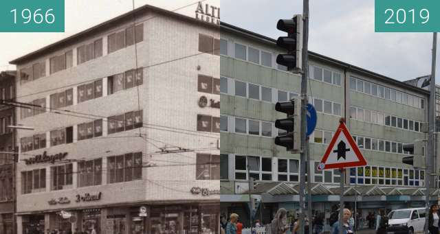 Before-and-after picture of Neumarkt Osnabrück between 1966 and 2019-Jun-03