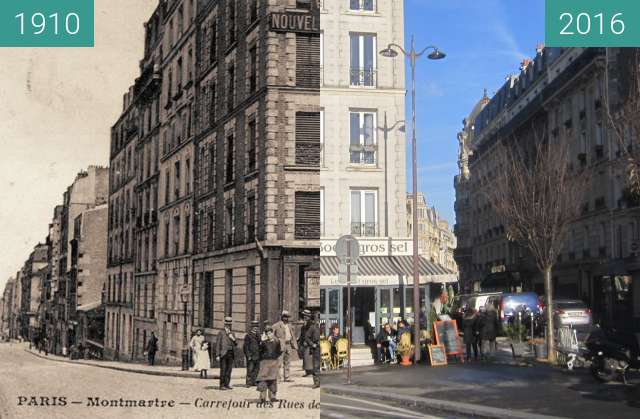 Before-and-after picture of Rue Damrémont/Joseph-de-Maistre between 1910 and 2016-Dec-11