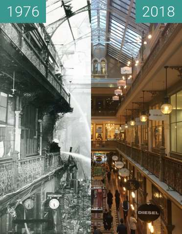 Before-and-after picture of The Strand Arcade between 1976-May-26 and 2018-May-31