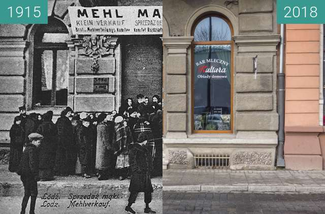 Before-and-after picture of Łódź, Andrzeja 5 between 1915 and 2018-Jan-24