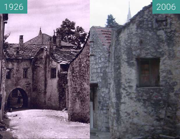 Before-and-after picture of An alley in Trebinje, Bosnia and Herzegovina, 1926 between 1926 and 2006-Dec-09