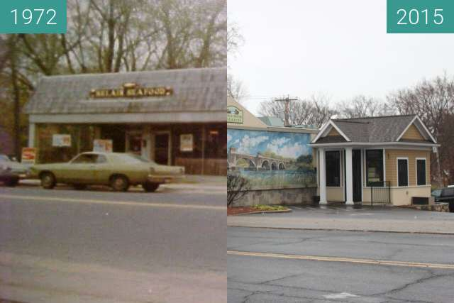 Before-and-after picture of Belair Seafood, Milford, Connecticut between 1972 and 2015