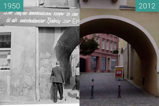 Before-and-after picture of Klostertor in Kamenz between 08/1950 and 2012-Jun-26