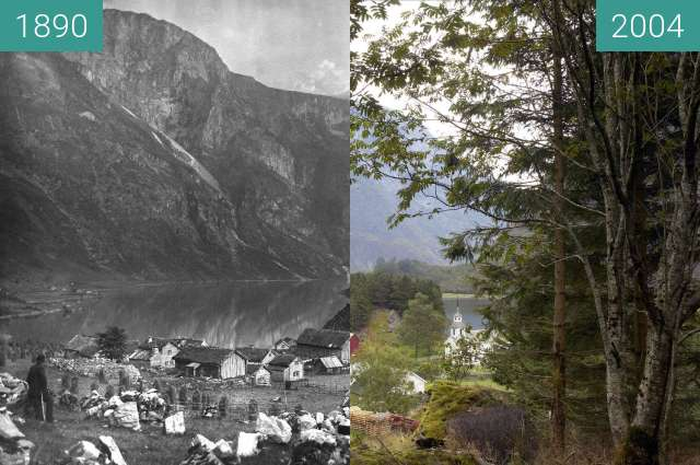 Before-and-after picture of Nærøy fjord between 1890 and 2004