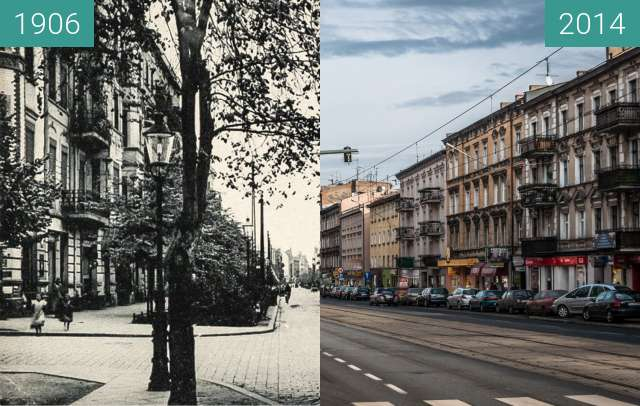 Before-and-after picture of Ulica Głogowska przed I wojną światową between 1906-Feb-07 and 2014-Feb-07