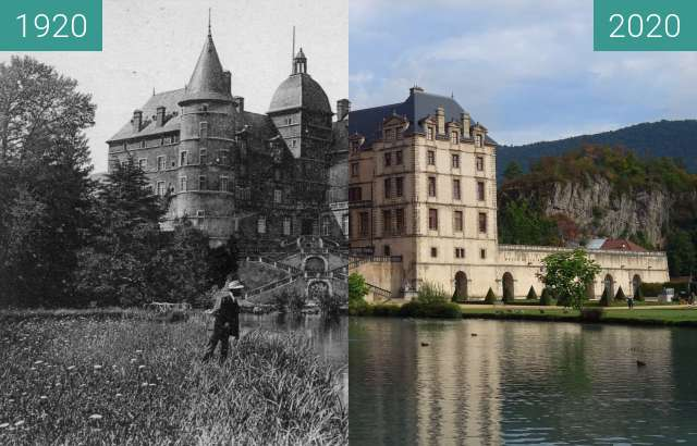 Before-and-after picture of Chateau de Vizille between 1920 and 08/2020