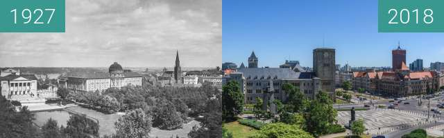 Before-and-after picture of Dzielnica Cesarska between 1927 and 2018