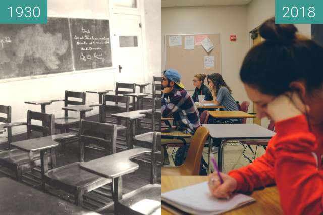 Before-and-after picture of 1930 Classroom - 2018 Classroom between 1930 and 2018