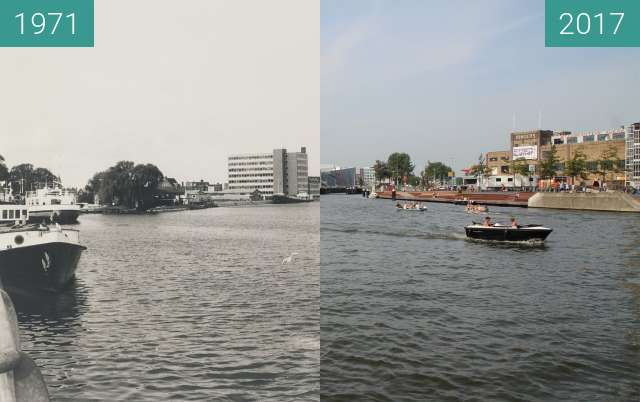 Before-and-after picture of Noorderkade and canal between 1971-Oct-08 and 2017-Aug-29