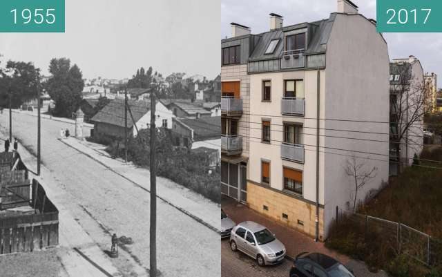 Before-and-after picture of Ulica Górczyńska between 1955 and 2017